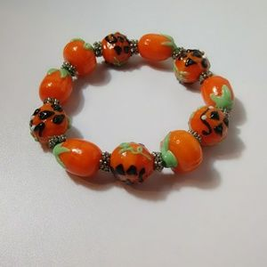 Hand Crafted Lampwork Glass Halloween Bracelet